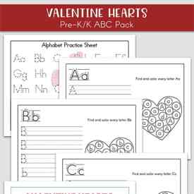 Free Valentine's Day Alphabet Printables Packet for Preschool and Kindergarten