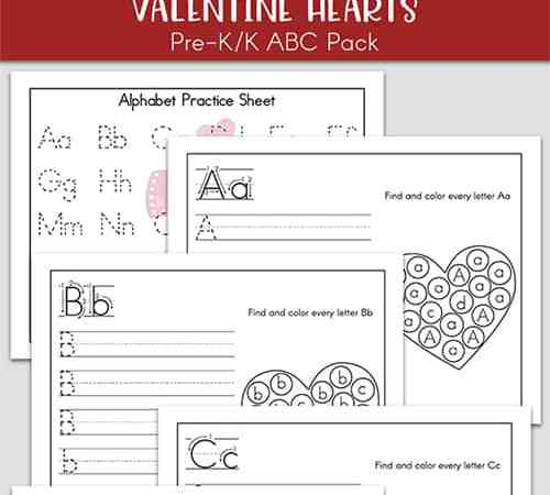 Valentine's Day Alphabet Printables Practice Packet (One Page for Each Letter)