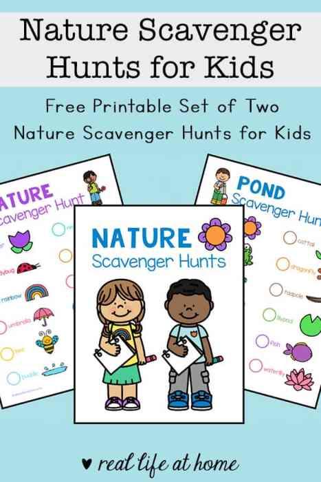 Nature Scavenger Hunts for Kids: Free Printable Set of Two Nature Scavenger Hunts for Kids