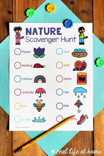 Free Nature Scavenger Hunt Printable Set from Real Life at Home