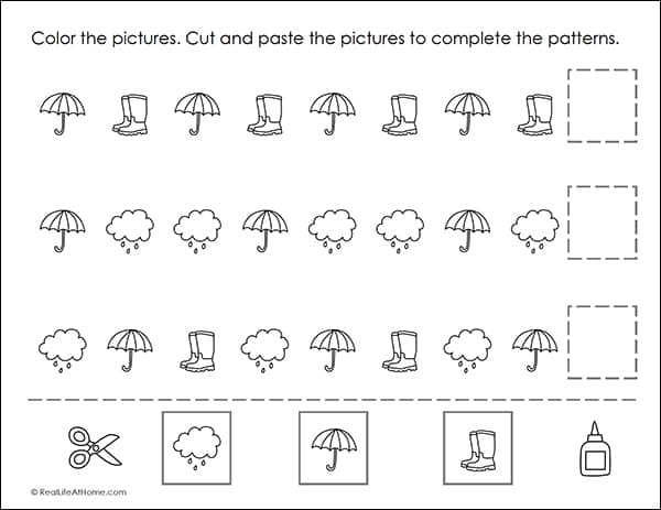 Cut And Paste Spring Math Patterns Printable Worksheets Packet