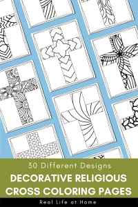 Religious Cross Coloring Pages Set for Kids and Adults
