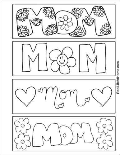 Free Printable Color Your Own Mother's Day Bookmarks for Kids