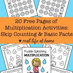 20 Free Printable Pages of Multiplication Worksheets: Basic Facts and Skip Counting