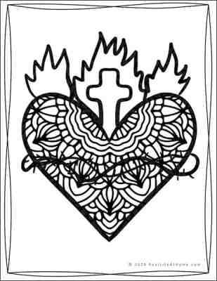 Sacred Heart Coloring Sheet (from Real Life at Home)