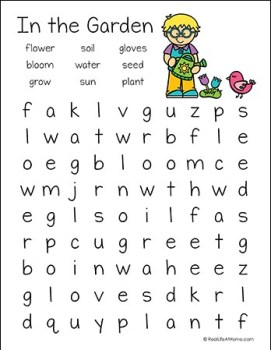 In the Garden Word Search Printable