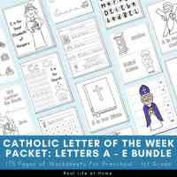 Catholic Letter of the Week Worksheets and Coloring Pages for Letters A - E