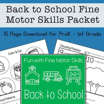 Back to School Fine Motor Skills Packet for Preschool - 1st Grade