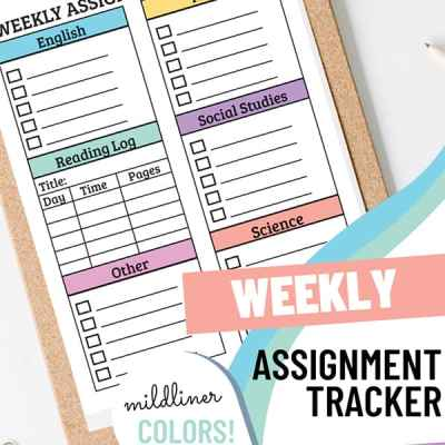 Weekly Assignment Planner Printable Set
