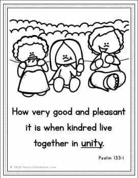Psalm 133:1 Coloring Page for Kids