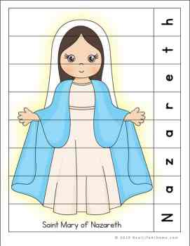 Saint Mary of Nazareth Puzzle Page Printable