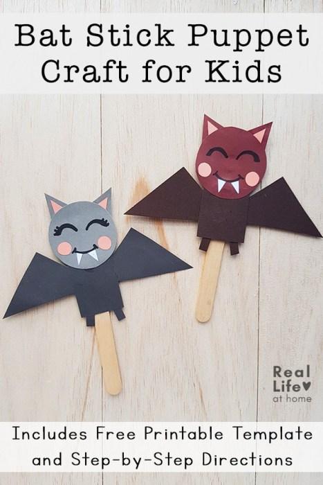 Bat Craft for Kids - Bat Stick Puppets