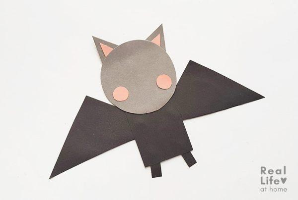 Bat Stick Puppet Craft (step 7)