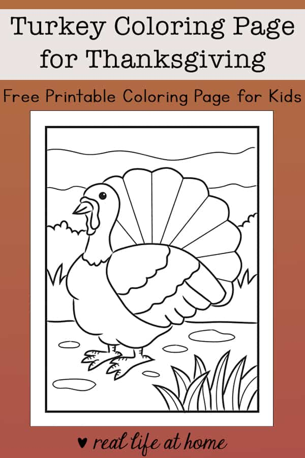 Free Turkey Coloring Page for Thanksgiving for Kids
