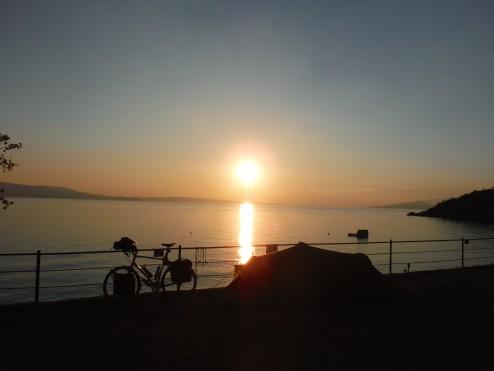 Sunset at camp. Sibinj, Croatia.