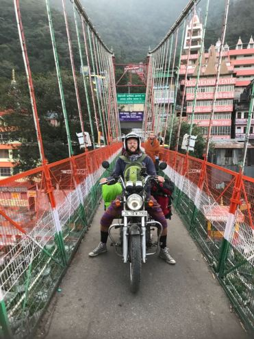 Easy rider; crossing Lakshman Jhula, Rishikesh