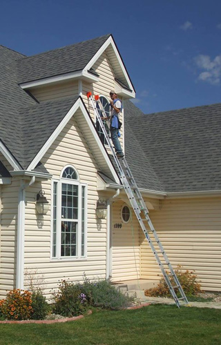 Cleaning second floor windows