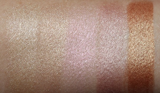 Hourglass Vanish Flash Highlighting Stick Swatches - Gold Flash, Champagne Flash, Pink Flash, Rose Gold Flash, Bronze Flash