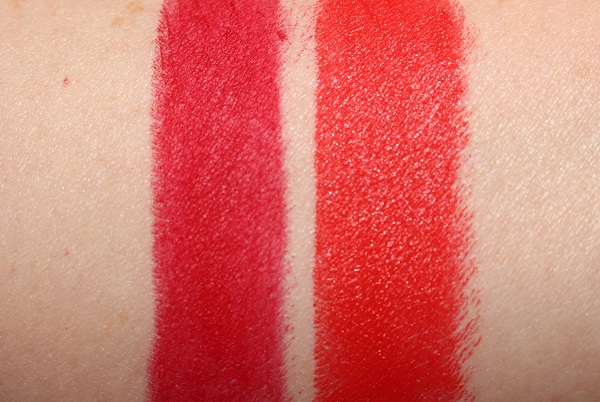 MAC Lucky Red Lipstick Swatches - Ruby Woo and Lady Danger