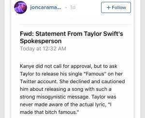 Taylor's spokesman