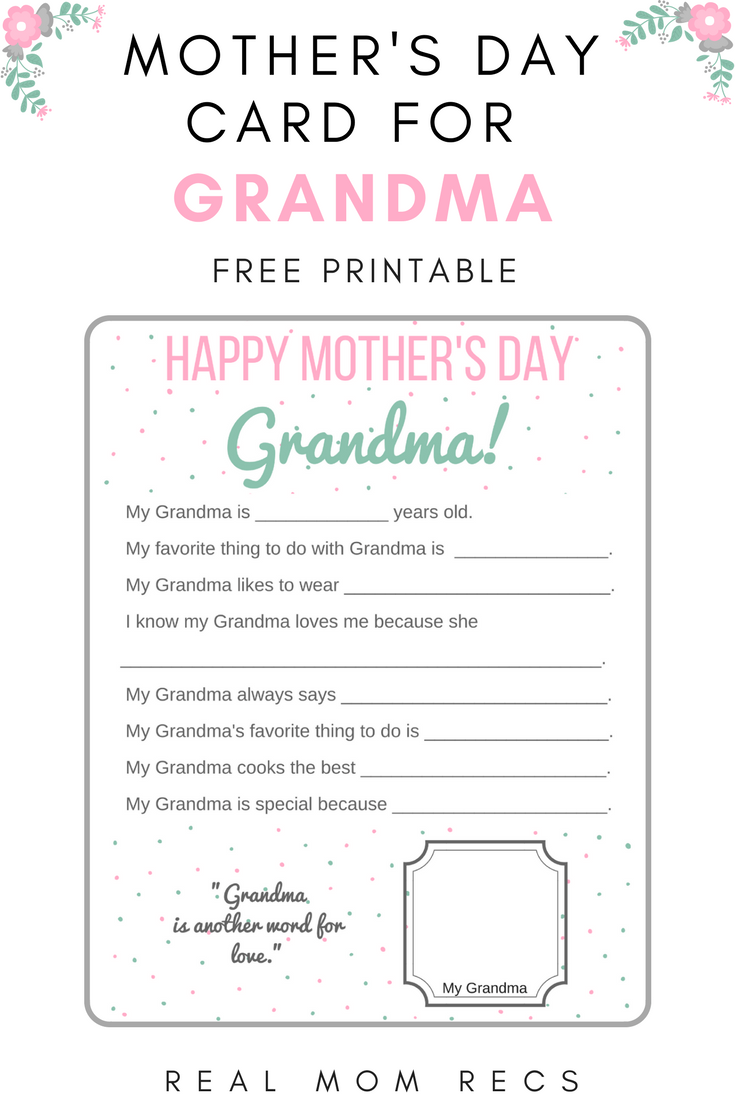 photo relating to All About My Grandma Printable known as Printable Moms Working day Card for Grandma versus Grandkids