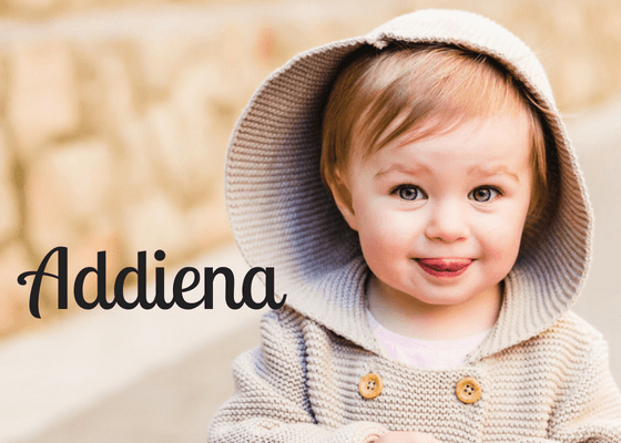 Baby girl with hooded sweater with the Welsh name Addiena
