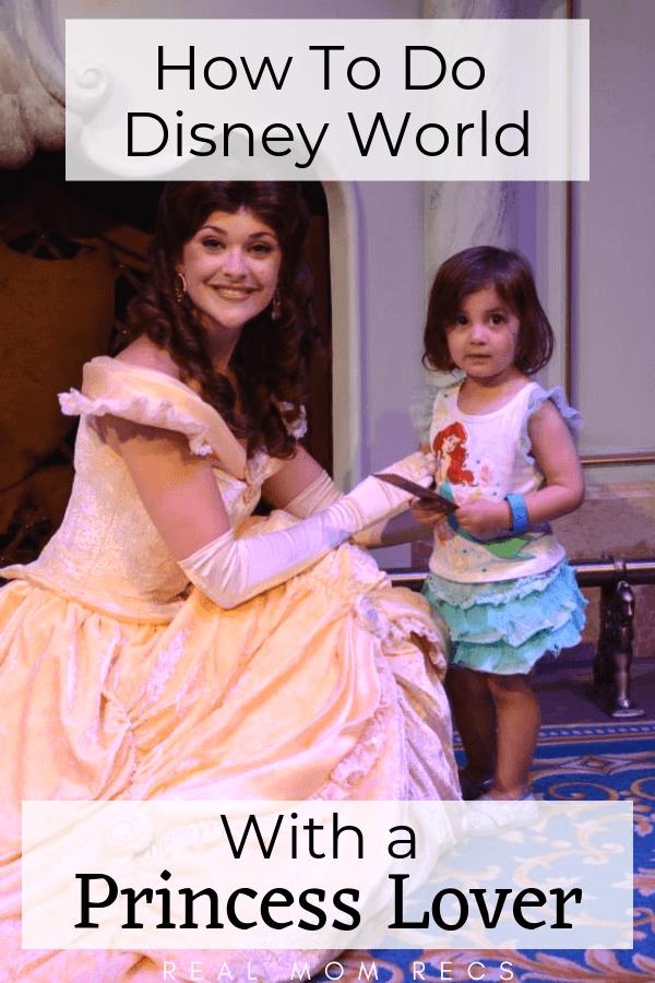 disney world princess young girl meets Belle at Walt Disney World