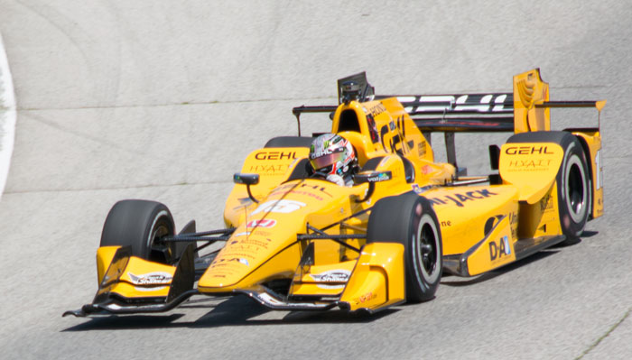 Graham Rahal exits Turn 6 during practice for the KOHLER Grand Prix at Road America