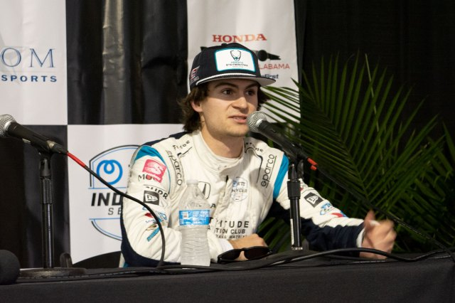 Colton Herta answers questions after Practice #2