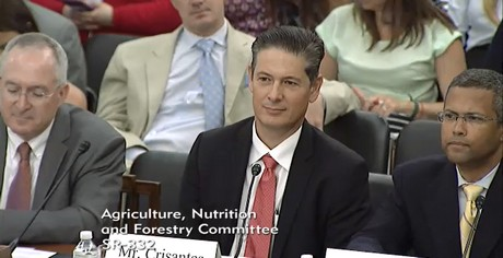 Theo Crisantes testifying for the Coalition For Sustainable Organics to the Senate Ag Committee.