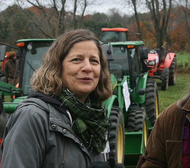 Kate Duesterberg and tractors at a farm rally