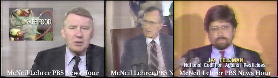 Triptch of Jim Lehrer, President George Bush and Jay Feldman in 1989.