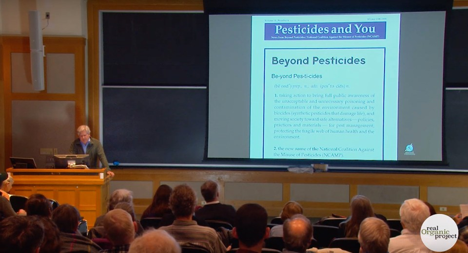 Jay Feldman of Beyond Pesticides speaks to organic farmers and concerned consumer at the Real Organic Project Symposium in March, 2019