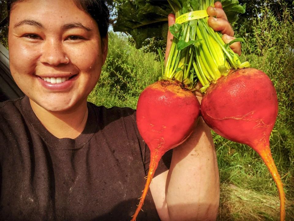 Savannah Flynn with beets at Flynn Farms Washington
