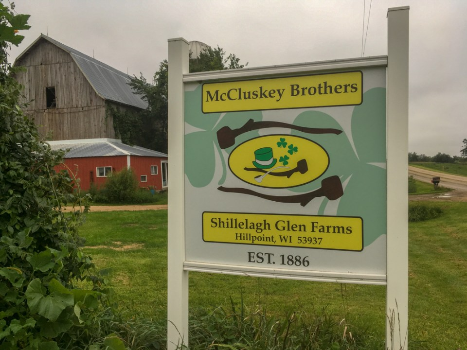 McCluskey Brothers Farm sign and barn