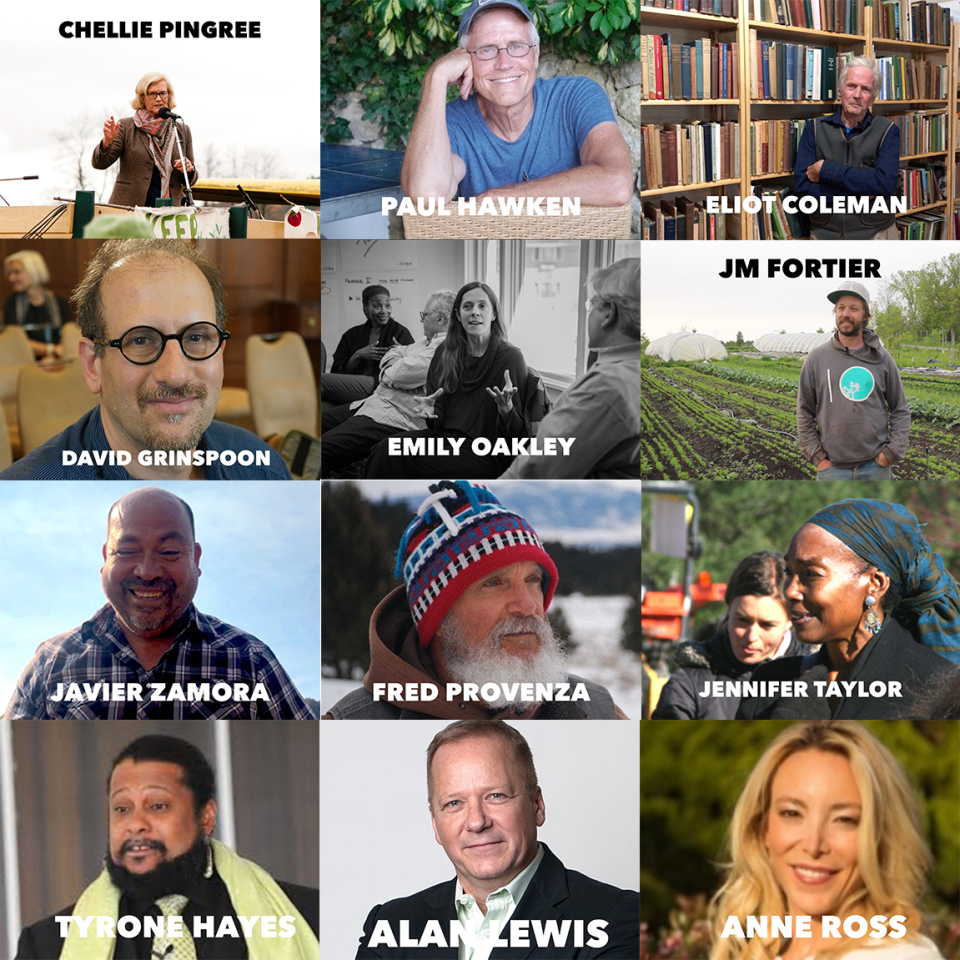photo grid of speakers for the 2020 real organic project symposium, including paul hawken, chellie pingree, eliot coleman and JM fortier