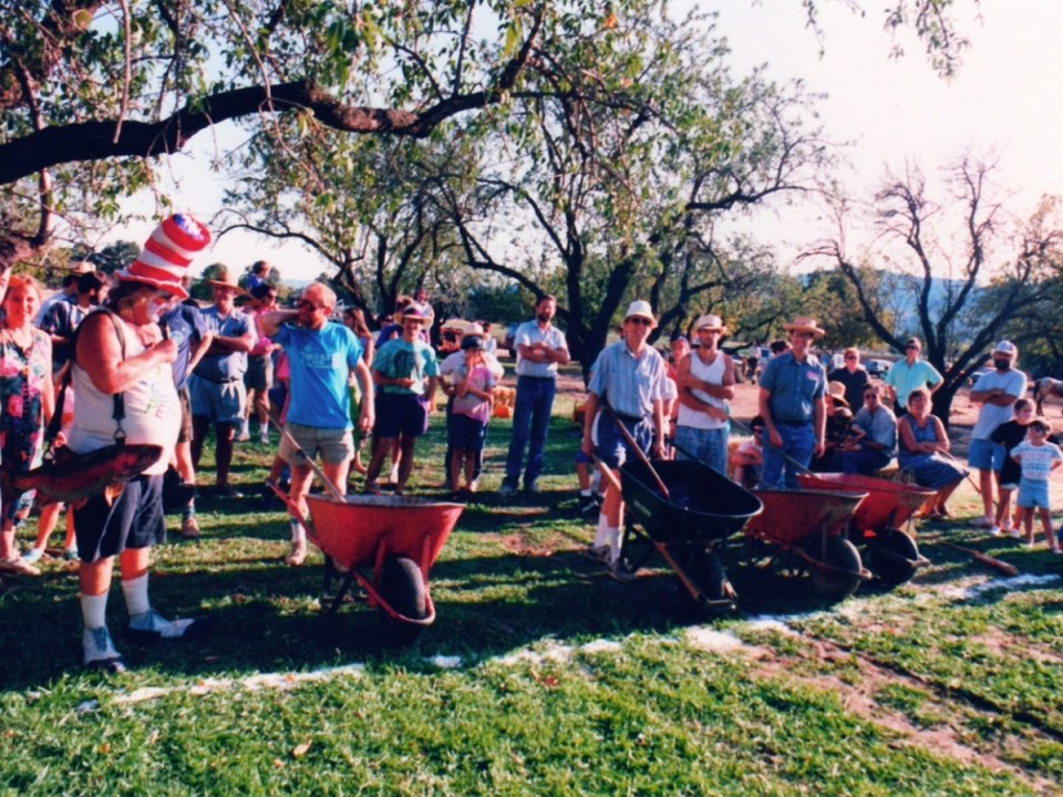 Wavy Gravy emcees the wheelbarrow race at the Hoes Down Festival at Full Belly.
