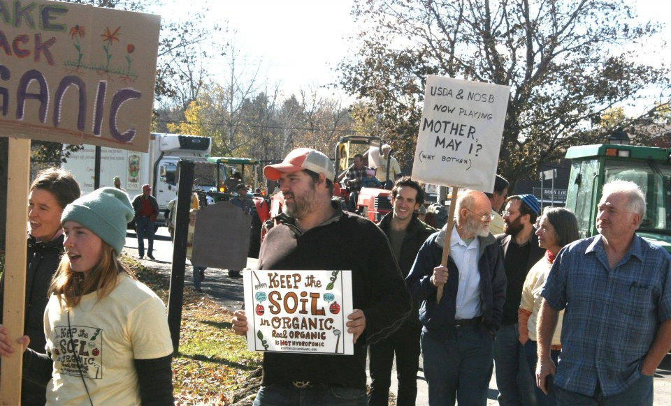 Arthur Harvey marching with many other farmers at the Stowe rally.