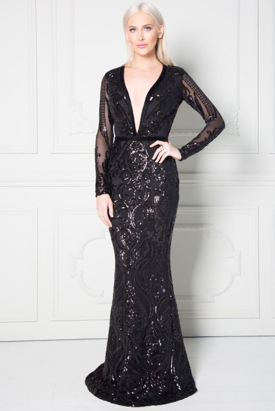 Goddiva Stephanie Pratt Deep V Neck Sequin Embroidered Maxi Dress in Black