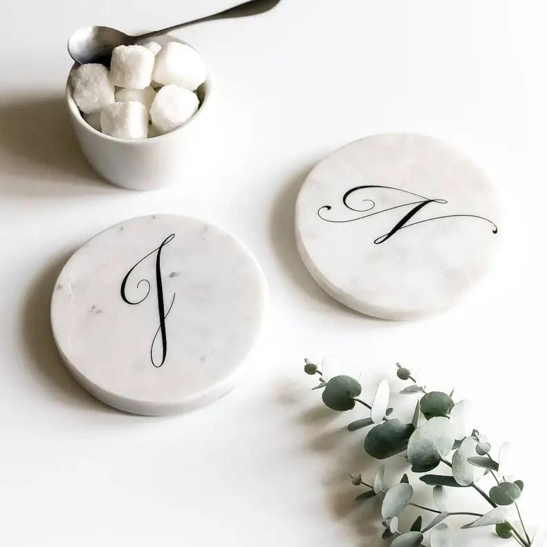 Personalised Round Marble Coasters