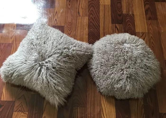 single sided long hair mongolian fur pillow light grey round rectangular shape