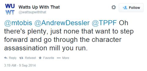 Anthony Watt's character assassination tweet