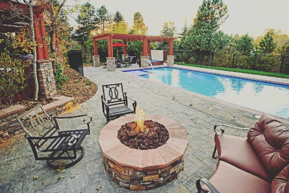 backyard pool deck