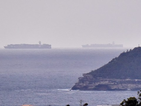 container ships off Sydney