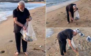PM Modi, plogging on Mahabalipuram beach,