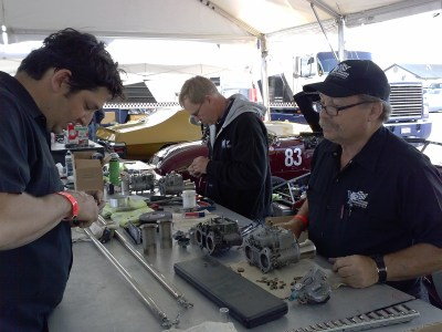 Racecar Mechanics At Work