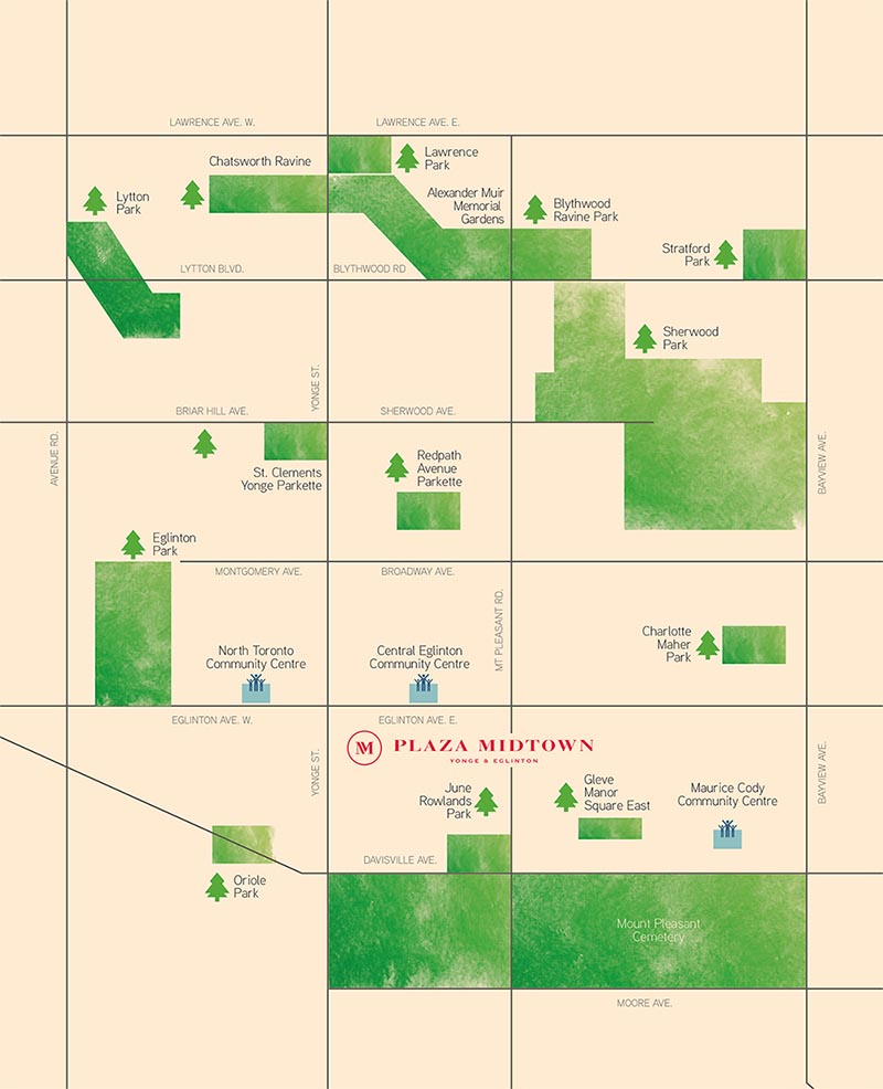 Plaza Midtown parks map