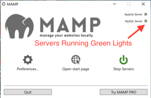 MAMP window with server lights on.