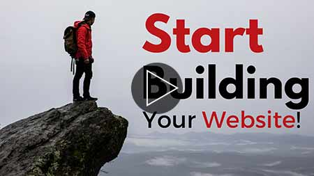 Image text says, start building your website