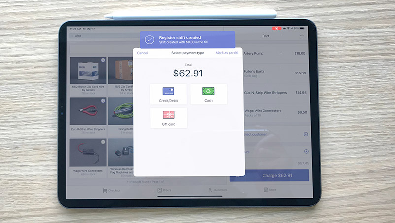 Shopify Point of Sales app running on an iPad